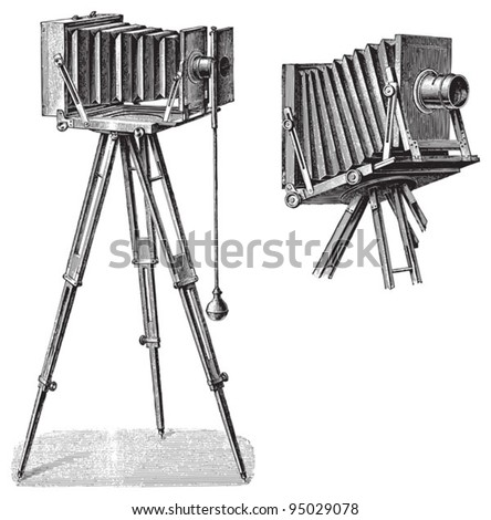 Old photo camera with tripod / vintage illustration from Meyers Konversations-Lexikon 1897 - stock vector