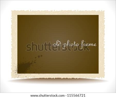 Old Photo Frame. Vector Design Template. - stock vector
