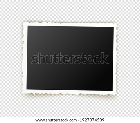 Old photo. Retro image frames. Empty snapshot frame template. Vector illustration isolated on transparent background ストックフォト ©