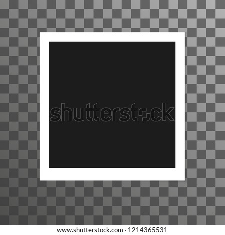 Old photo similar to polaroid, picture template on checkered background vector.