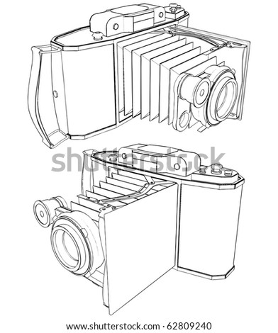 Old Photographic Camera Vector 02