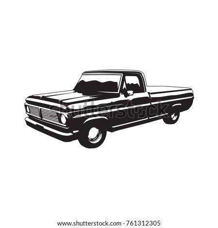 Old pickup truck vintage style vector black