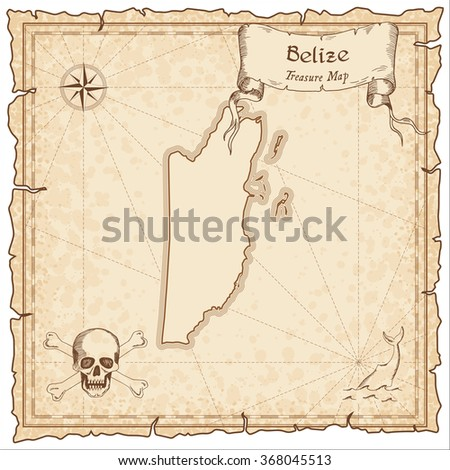 old pirate map of belize sepia