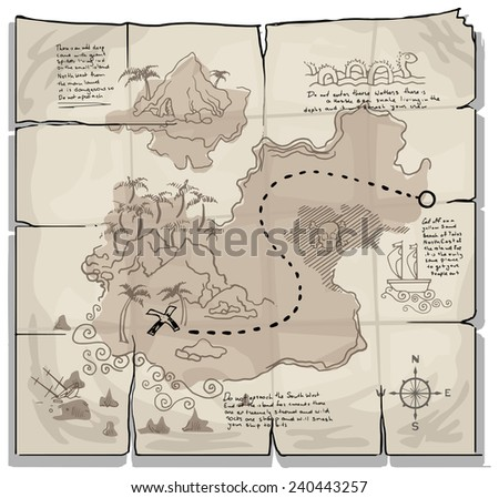 Old pirate map vector illustration
