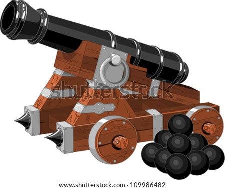 old pirate ship cannon  and