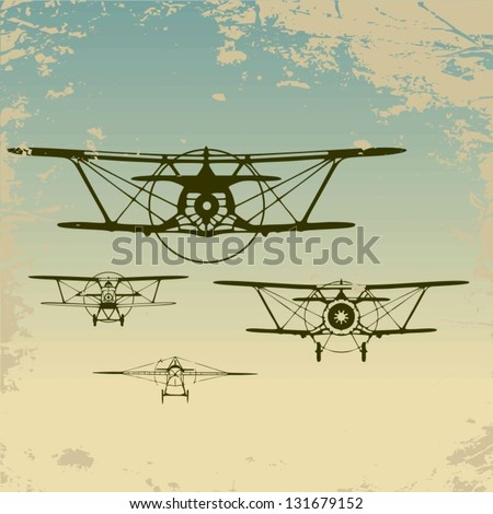Old planes flying in the clouds,  retro aviation background. Vector.