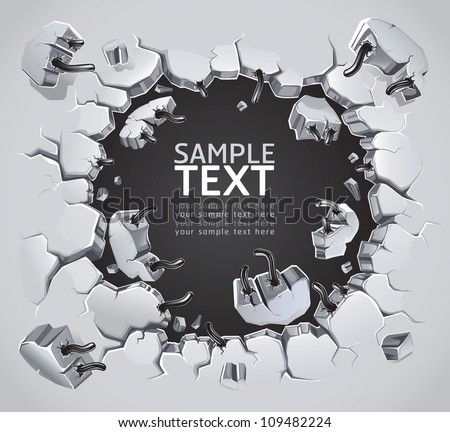 old plaster wall damage vector