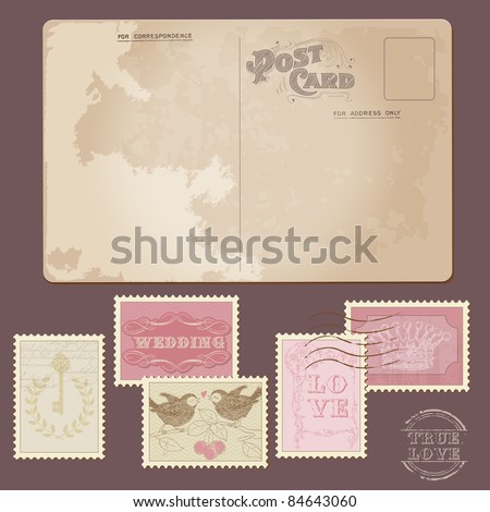 Old Postcard and Wedding Postage Stamps - for wedding design, invitation, congratulation, scrapbook