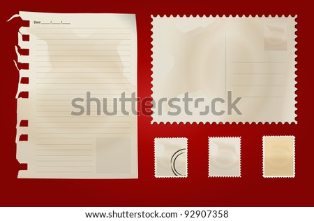 Old postcard, stamp set and old paper. Vector Illustration.