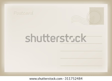 Old postcard.Vector template.