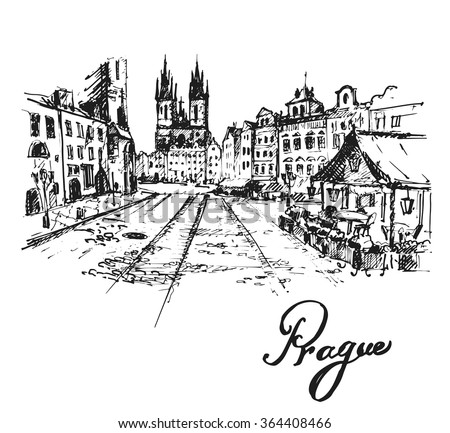 Old Prague View Czech Republic Hand Drawn Sketch Vector