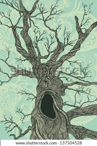 Old psychedelic tree hand-drawn illustration color version