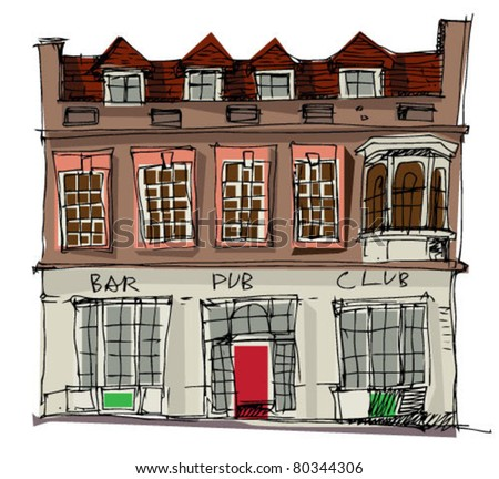 old pub - stock vector