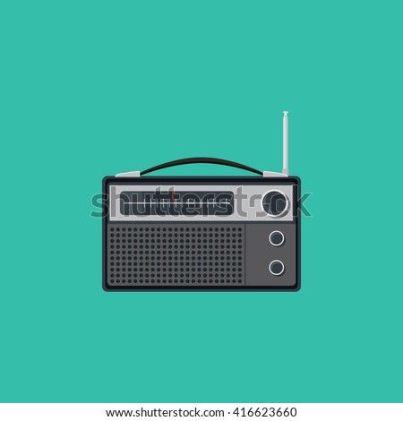 old radio single isolated vector graphic illustration