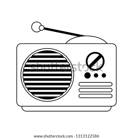 Old radio stereo device in black and white