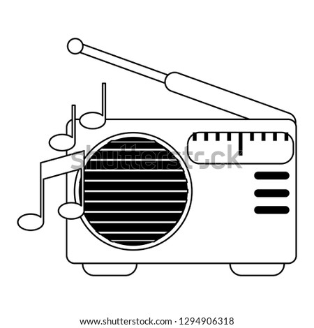 old radio stereo with music notes in black and white