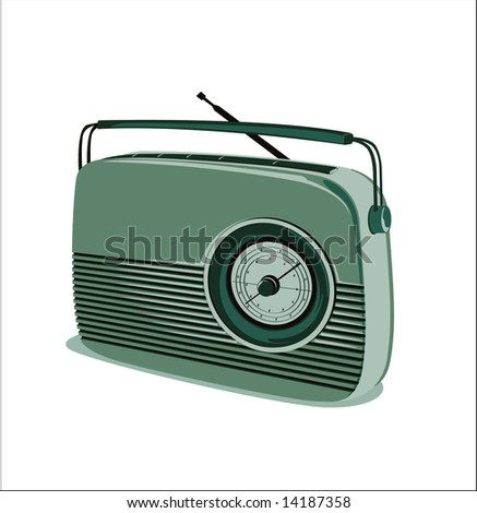 old radio vector - green