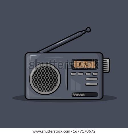 Old radio with antenna vector illustration Сток-фото ©