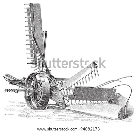 Old reaper (mowing machine) - Vintage illustration / illustration from Meyers Konversations-Lexikon 1897