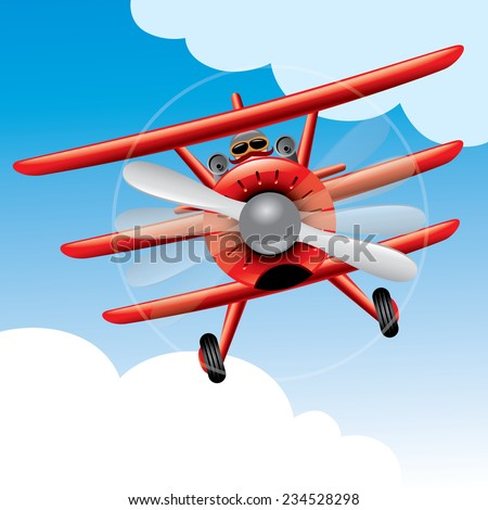 old red baron plane cartoon
