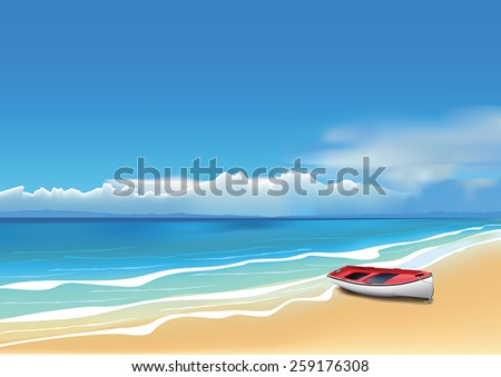 old red boat on beautiful beach