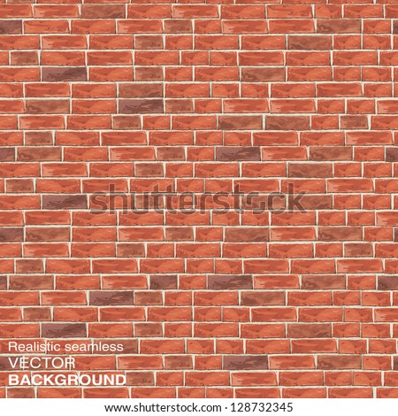 Old red brick wall. Seamless vector texture for continuous replicate