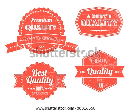 Old red retro vintage grunge labels - premium quality