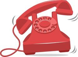 Old red vintage phone ringing