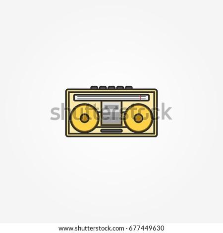 Old Retro Classic Radio. Vector Illustration of Vintage Radio