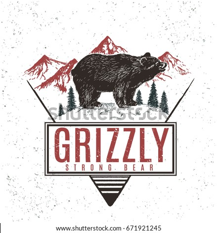 old retro logo with bear