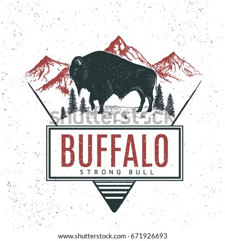 Old retro logo with bull buffalo on mountains background.Vector vintage label