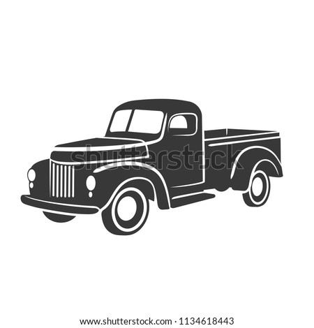 Old retro pickup truck vector illustration. Vintage transport vehicle. Simple vector icon or logo