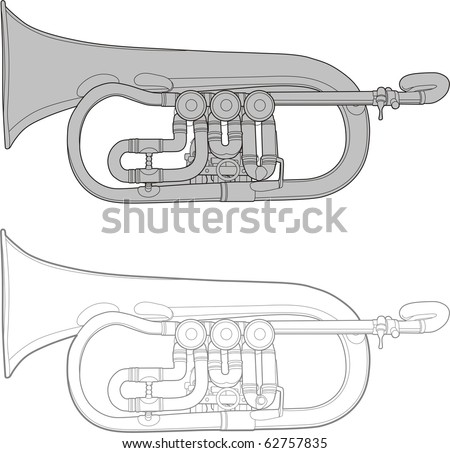 old retro styled trumpet vector outline
