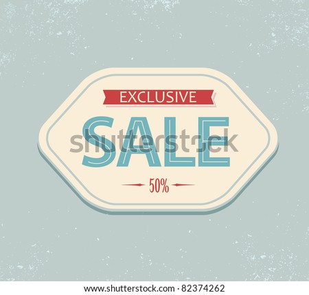 Old retro vintage sale label - blue and red