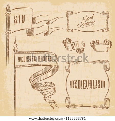 Old ribbon banner and flag - for decoration, scrapbook and design in vector