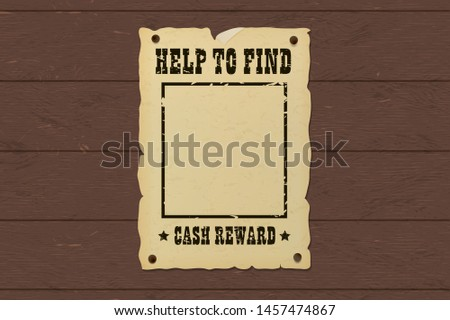 Old ripped missing poster nailed to a wooden bounty board