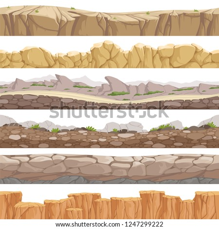 Old rock road seamless. Endless fantastic rockie ground various types games landscape vector backgrounds