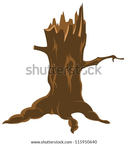 Old rotten stump on white background is insulated
