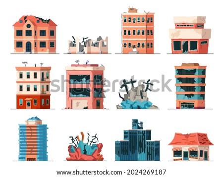 Old ruined, abandoned and collapsed city office buildings. Apartment houses damaged war or earthquake. Broken town buildings vector set. Illustration of abandoned building after collapse destruction