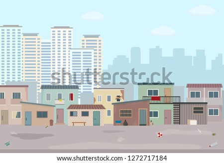 Old ruined houses and modern city. Contrast of modern buildings and poor slums. Flat style vector illustration.  Сток-фото ©