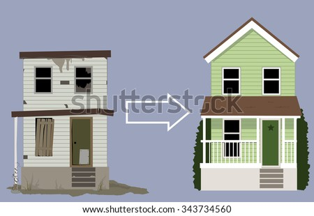 Old, rundown house turned into a nice new two-story home, EPS 8 vector illustration