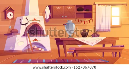 Old russian kitchen empty interior with traditional stove, wooden table, bench, cuckoo-clock, samovar, grip, shelf with pots, jug, rag on floor and window. Rural room decor Cartoon vector illustration