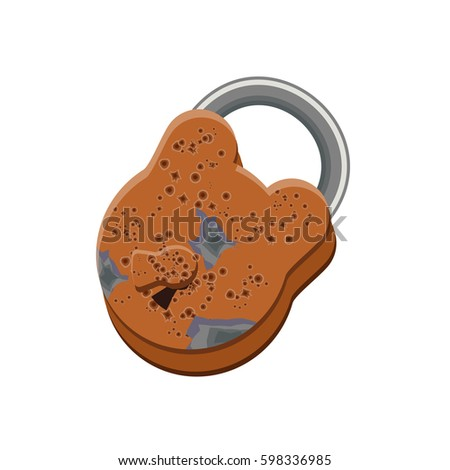 old rusted padlock with open