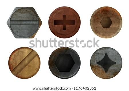Old rusty bolts screw. Hardware rust metal texture for different iron tools. Vector realistic pictures screw bolt top, iron rusty head fix illustration