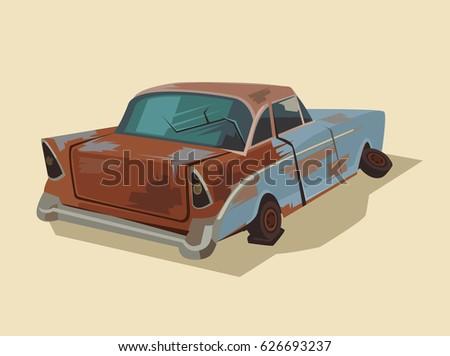 old rusty broken car vector