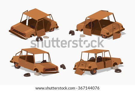 old rusty car 3d lowpoly
