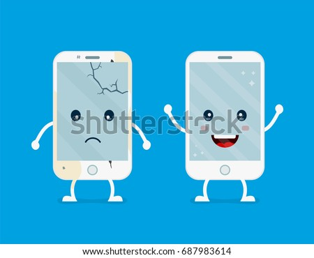 Old sad broken phone with cracks and scratches phone and new happy renovated smiling clear phone.Vector flat cartoon illustration character icon.Isolated on white background.Repair smartphones concept