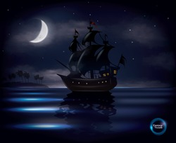 Old sail ship floating on calm ocean with half moon and stars in background, fantasy vector