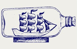 Old sailboat in glass bottle. Doodle style