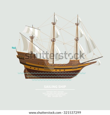 old sailing ship flat design
